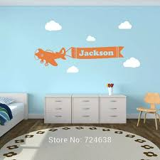 Personalized Airplane Clouds Name Decal Airplane Banner Childrens Room Decor Kids Room Teen Name Vinyl Wall Sticker Vinyl Wall Stickers Name Wall Stickerswall Sticker Aliexpress