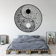 Best Deal Ebdf Yin Yang Mandala Flower Wall Decals Vinyl Wall Stickers Bedroom Home Decor Mandala Yin Yang Lotus Complex Pattern Wall Art Ll930 Cicig Co