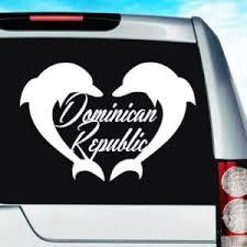 Dominican Republic Dolphin Heart Vinyl Car Window Decal Sticker