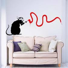 Banksy Rat Vandal Living Room Bedroom Hallway Kitchen Home Window Decal Removable Vinyl Art Wall Sticker Autocollant Mural B083 Autocollant Mural Art Wall Stickerwall Sticker Aliexpress