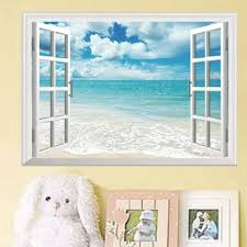 Amazon Com Blue Sky White Beach 3d Fake Window View Wall Stickers Home Office Decor Mural Home Kitchen