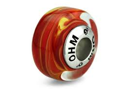 ohm fire ation red glass bead with