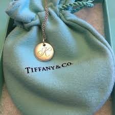 tiffany co small k initial necklace