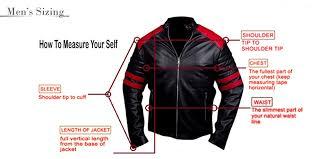 leather jacket size chart