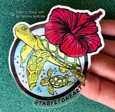 Cruising Turtles Sticker With Red Hibiscus Turtle Hibiscus Etsy