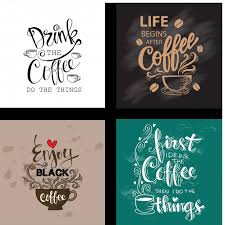 set of motivational quotes about coffee premium vector