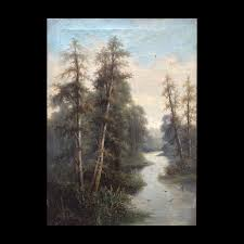 Ada Stone (1879 - 1904) Oil Painting The Winding River | David Smernoff |  Oil painting, Painting, Oil on canvas