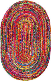 Reversible Oval 5 X 7 Braided Chindi Area Rug For Bedroom Kids Room