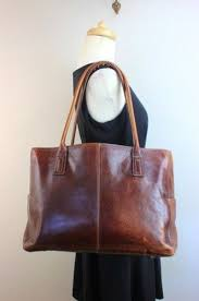 fossil genuine leather brown tote bag