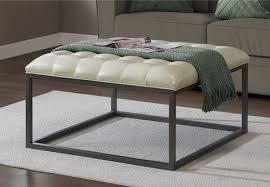healy cream leather tufted ottoman coffee
