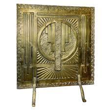 art deco fireplace brass screen with 3d