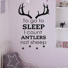 Amazon Com Wall Decals Quotes To Go To Sleep I Count Antlers Not Sheep Wall Decal Vinyl Stickers Deer Antler Silhouette Bedroom Nursery Home Decor Q122 Kitchen Dining