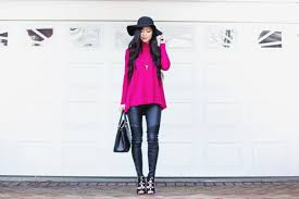 blogger leather pants pink sweater