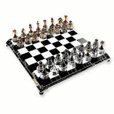 silver plated gold crystal chess set