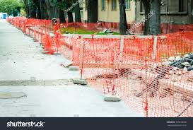 Construction Site Safety Net Fence Barrier Parks Outdoor Stock Image 733810534