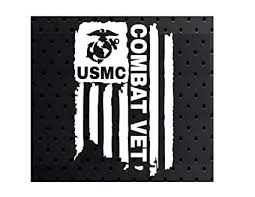 Distressed Usmc Combat Vet Sticker United States Marine Corps Flag Bumper Vinyl Car Decal Truck Window Laptop Army Us 3 X4 6 Veteran White Amazon In Car Motorbike