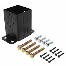 Generic Eapele 4x4 Wood Fence Post Anchor Base 13ga Thick Steel And Black Powder Coated Come With Wood Screws And Concrete Anchors