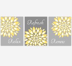 Floral Bathroom Wall Art Yellow Gray Flower Burst Dahlia Mums Spa Bath Rules Home Decor Set Of 3 Unframed Prints