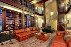 two story library room features expanse