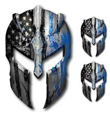 10 Pack Thin Blue Line Spartan Helmet Decal Sticker Car Truck Low Priced Decals Lots Of Designs