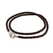 pandora leather bracelet brown double