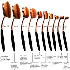 10 piece rose gold oval makeup brush