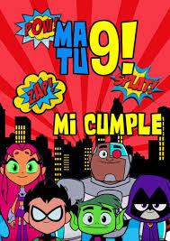 Cartel Bienvenida Cumpleanos Jovenes Titanes Personalizado 180