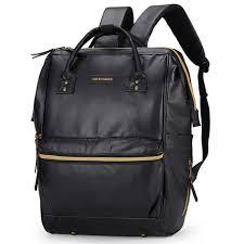black leather diaper bag backpack