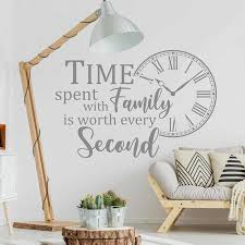 Quote Wall Decal Time Spent With Family Is Worth Every Second Vinyl Adhesive Sticker Clock Living Room Home Decoration Art S876 Wall Stickers Aliexpress