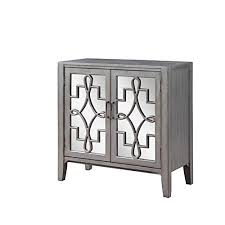 mirrored accent cabinet with doors