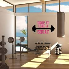 Amazon Com Drop It Like A Squat Gym Wall Decal Weight Room Gym Wall Vinyl Decal Sticker Fitness Workout Gym Wall Decal Stickers Personal Training Decal Barbell Decal