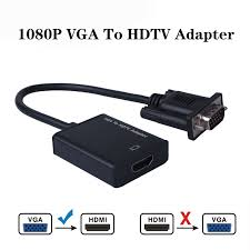 1080P VGA Male to HDMI Female Converter Adapter Cable for Laptop Destop to  TV Projector Monitor with Audio USB Cable|HDMI Cables