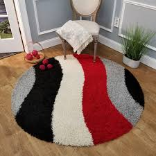 Amazon Com Round Shag Rug 5 Ft Wave Curve Red Black Gray Ivory Shag Rugs For Living Room Bedroom Nursery Kids College Dorm Carpet By European Made Mh10 Maxy Home Kitchen