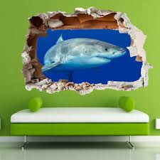 Great White Shark Jaws Wall Stickers 3d Art Poster Mural Kids Boys Bedroom Su0 Ebay