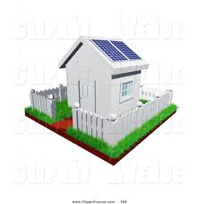 Avenue Clipart Of A Cute Little White Home With Green Grass A Picket Fence And Solar Panels On The Roof By Frog974 366