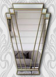 art deco fan wall mirror with gold trim