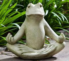 what the meditating frog statue meaning