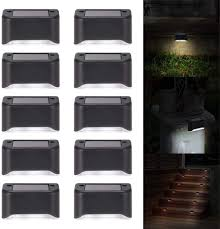 Aozbz Solar Step Lights Waterproof Fence Post Solar Lights 10 Pcs Solar Powered Outdoor Lights For Deck Patio Stair Yard Path Driveway Pool 6000k White Light Amazon Com