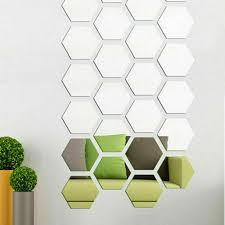 large hexagon mirror tiles glass wall
