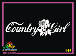 Country Girl And Rose Vinyl Decal