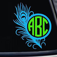 Three Letter Monogram Peacock Feather Decal Choose The Color And Size Perfect For Car Windows Yeti Cups Computer Case Water Bottle Etc Buy Online In Kuwait Cover Your Glass Products