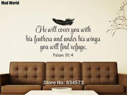 Psalm 91 4 He Will Cover You With His Feathers Bible Verse Wall Art Stickers Wall Decals Home Decoration Removable Wall Stickers Wall Stickers Aliexpress