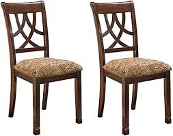 Amazon Com Ashley Furniture Signature Design Leahlyn Dining Upholstered Side Chair Pierced Splat Back Set Of 2 Medium Brown Chairs