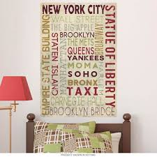 New York City Word Cloud Wall Decal At Retro Planet