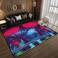 Black Floor Mat Neon Light Color Elephant Anti Slip Soft Area Rugs Kids Room