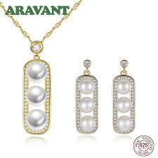925 silver jewelry set square pearl