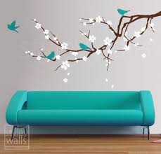 Cherry Blossom Branch Wall Decal Blossoming Cherry Tree Etsy Bird Wall Decals Wall Murals Wall Decal Sticker