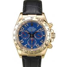 gold case blue dial black leather strap