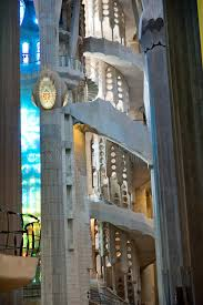 stained glass and staircase in sagrada