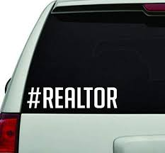Amazon Com Hashtag Realtor White Version Car Window Windshield Lettering Decal Sticker Decals Stickers Home Kitchen